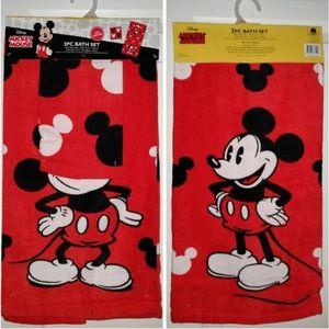 Nwt Mickey Mouse 2Pc Bath Towel Set